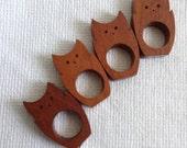 Mod OWL Napkin Rings.   4 pieces.  Hand Finished Mahogany.   Mid century modern, Danish Modern, Eames era. Vintage 1970.