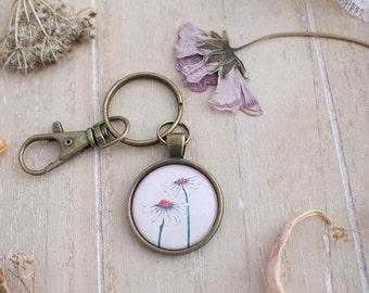 Daisy Key Ring - Daisy Keychain - Daisy Flower - Flower Keychain - Key Organizer - Illustrated Keychain