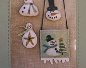 Snow Flurries Wool Pattern by Heart To Hand, Snowman purse and pins