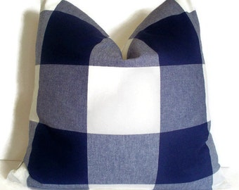 Navy Check Pillow Cover blue indigo check buffalo check large blue check