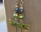 Dragonfly Earrings | Dragonfly Jewelry | Dragonfly Gift | Blue & Green Sterling Silver Cloisonne