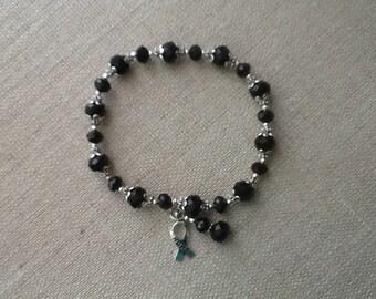 090 Black Crystal Melanoma Cancer Awareness Bracelet