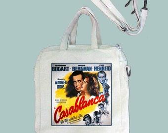 Casablanca Vintage Movie Poster Canvas Purse, Tablet Bag/Carrier, Cosmetic Case -- Removable, Adjustable shoulder strap