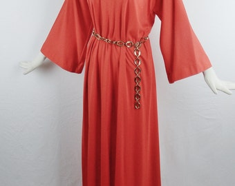 Vintage HALSTON 70s RED BOHO Maxi Hostess Gown V-Neck with Bell Sleeves Front Leg Slit Size Open