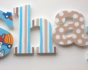 Construction Striped Polka Dot Wooden Wall Name Letters / Hangings, Hand Painted for Boys Rooms, Play Rooms and Nursery Rooms