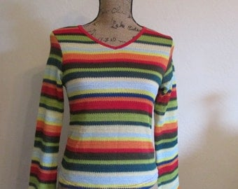 1980 Colorful Striped Top Blouse With Bell Sleeves