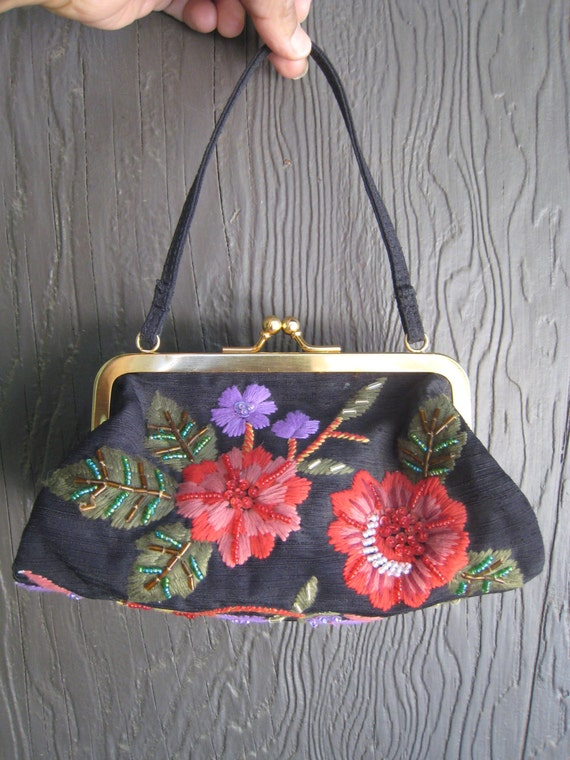 Adorable Floral Motif Handbag by Marco Avane with Beads and Sequins Unused