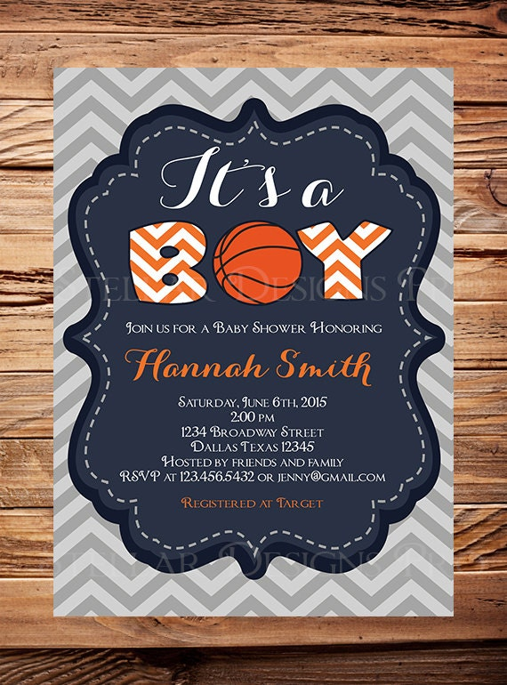 Baby Shower Invitation, BOY, Itu0027s A Boy, Basketball Baby Boy Shower  Invitation, Sports Baby Shower, Chevron Stripes, Gray,Navy, Orange, 1092