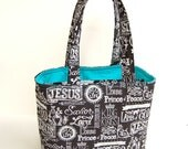 Bible Tote - Purse - Book Tote - Chalkboard Art Names of Jesus with Your Choice of Lining Color - Divided