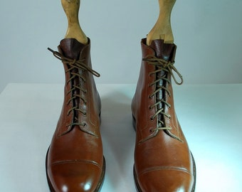 1940's Hand Made Cap Toe Ankle Boots Size 10 D