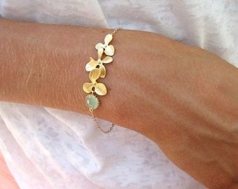 Gold Orchid Bracelet with Mint Accents