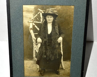 Vintage RPPC  Edwardian Women Wearing Large Fur Stole and Fancy Hat / Unusual Tree Branch Chair /Framed with Glass