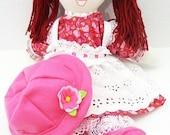 handmade rag doll, child friendly, cloth doll, fabric doll, hand made ragdoll, traditional rag doll, raggedy ann NF239