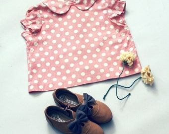 Girls Shirt Peter Pan Collar Blouse Girls Top in Red and White Polka Dot Stripe Cotton Shirt Girl Clothes 2T 3T 4T 5 Baby Clothes 18 months