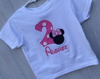 Personalized minnie mouse disney birthdays/age t-shirt