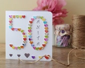 50th Birthday Card,  Personalised Age 50 Card, Handmade 3D, Fifty, Fiftieth Card, Sister, Mum, Dad Personalized Name BHA50