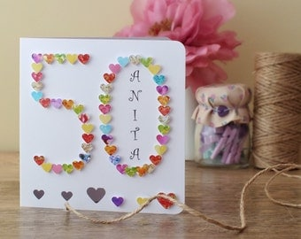 50th Birthday Card - Personalised Age 50 Card - Fiftieth Birthday Card - 50th Card - 50th Birthday Card for Mum - 50th Card for Her - BHA50