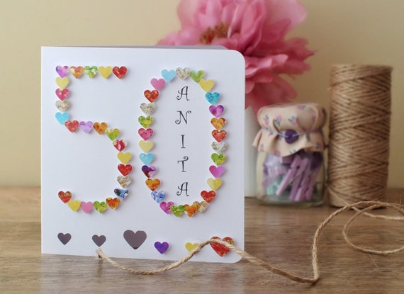 Personalised, Hand-Made 50th Birthday Card