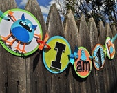 RUSH FEE Made to Order Monster Party Highchair Small Banner - I am 1 - Customize Your Way