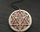 Star Tetrahedron and Flower of Life Pendant - triple layer sterling silver and oxidised copper - Handcrafted Sacred Geometry Jewellery