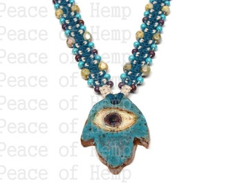 SALE Beaded Hamsa Hemp Necklace
