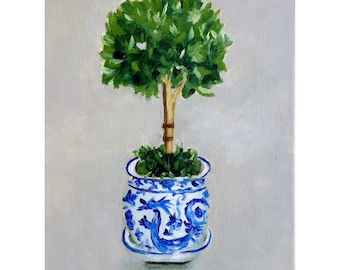 Art print: Topiary in Blue and White Pot, Chinoiserie art  still life, giclee print of my original oil painting
