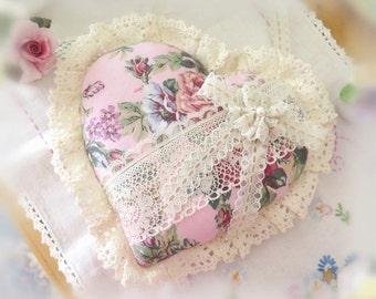 Ruffled Heart Pillow Ornament Heart Door Hanger 9 in. Heart, Rose Lilac Pink, Cottage Chic, Handmade CharlotteStyle Decorative Folk Art