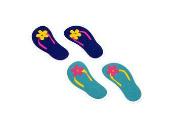 Flip flop die cuts - 4 pairs (3 in.) - you select your colors (C83)