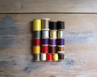 Vintage Thread Collection Lot of Twenty One, 21 Spools of Thread