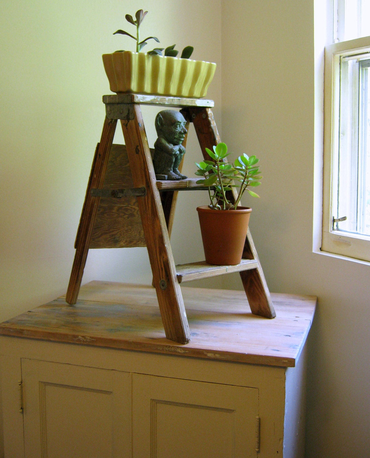 Vintage Step Ladder Wooden Plant Stand by NaturalVintage on Etsy