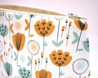 Tulip Fields Cosmetic Bag in Aqua and Mustard