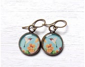 HUMMINGBIRD EARRINGS / Fine Art Print / Hummingbird Jewelry