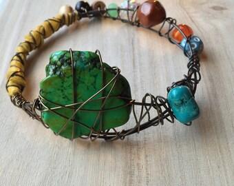 Boho Jewelry, Bangle Bracelet, colorful Gypsy stacking Bangle, Unique beaded leather Ethnic Jewelry, Free Spirit Festival Fashion, witchy
