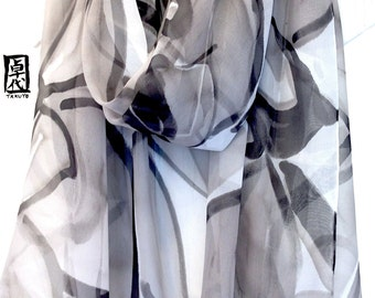 Grey Silk Shawl, Bridal Chiffon Wrap, Gray Summer Scarf, Grey chiffon shawl, Black and Gray Zen Orchid, Takuyo, 22x89 inch. Made to order