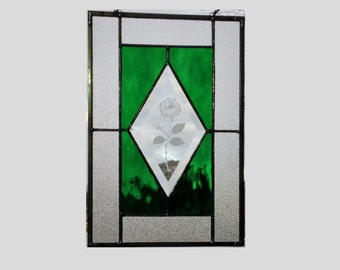 Etched rose stained glass window panel green stained glass panel window hanging beveled glass suncatcher geometric 12 1/4 x 8 1/4