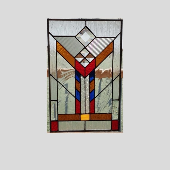 Stained glass panel window arts and crafts prairie style for Arts and crafts glass