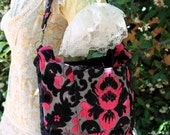 Custom Order MAE WEST Carpet bag: Large Style Shoulder Bag in Black Damask Fabric your choice of secondary Color