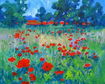 "8 x 8 Art Print from the English Landscape, ""Full Field  of Poppies"", Original Art Print"