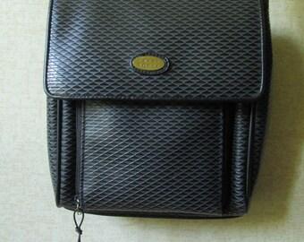 Crossbody Bag organizer purse black faux leather vegan satchel shoulder bag long strap purse sling bag vintage 90s Liz Claiborne Crazy Horse