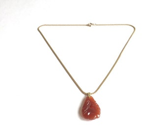 Vintage faux Carnelian Carved Necklace, Orange carved stone pendant, Asian themed necklace
