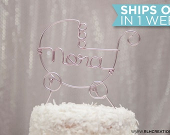 Baby Carriage Cake Topper / Baby Shower Cake Topper / New Baby / Personalized Cake Topper / Baby Name Cake Topper / Baby Party Cake Topper