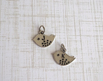 Bird Charm Hand Stamped Initial Letter Antiqued Silver Metal - 2 Pieces