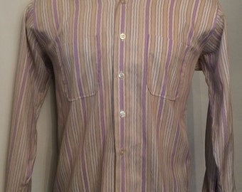 Vintage MENS Marshall Field & Company striped long sleeve shirt, size L, circa 1960s