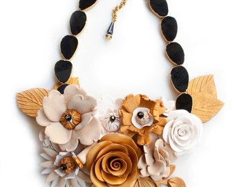 Large gold flower necklace, statement piece, special occasion jewelry, art jewelry necklace