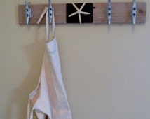 FREE SHIPPING Father's Day Tie Rack Hat Rack Nautical Towel Rack Repurposed  Beach Cottage Cottage Chic Towel Hooks Starfish Boat Cleats