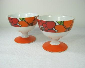 Vintage MOD SHERBET GLASSES Orange Floral Set/2 Footed Dessert