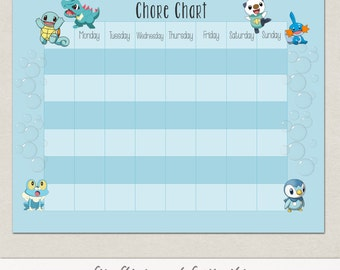 Blank Water Pokemon Behavior or Chore Chart * Visual Schedule * Instant Download