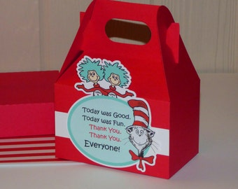Medium Dr Seuss Favor Boxes - Thing 1 Thing 2 - Gable Boxes - Cat in the Hat Favor Bags
