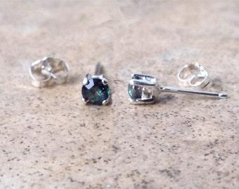 Rainbow Mystic Topaz earrings - 4mm Rainbow Mystic Topaz stud earrings in Silver or Gold