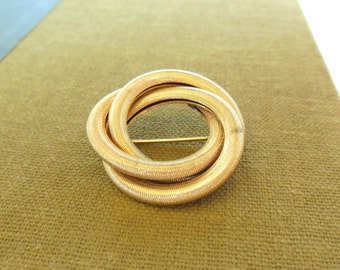 Vintage Sarah Coventry Brooch Intertwined Circles Gold 60's  (item 256)